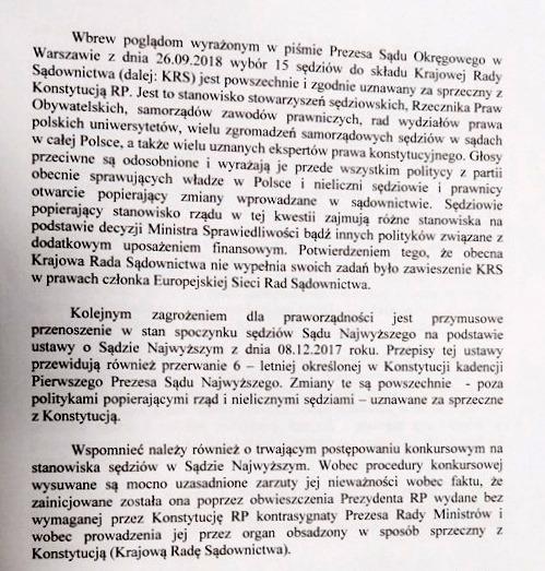 Fragment pisma sędziego Piotra Gąciarka. /RMF FM