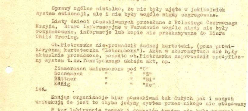 Fragment pisma Stefana Tyszki z Delegatury PCK (odniesienie do zarzutów stawianych przez Wiktora Pietruszke) do Delegata Głównego PCK na Niemcy (4.1.1949). Dokument znajduje się w AAN /INTERIA.PL