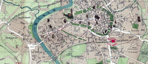 Fragment planu Krakowa z 1911, pokazujący położenie mostu Podgórskiego /Biblioteka Narodowa