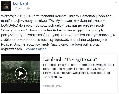 Fragment posta opublikowanego na profilu grupy Lombard /Facebook /