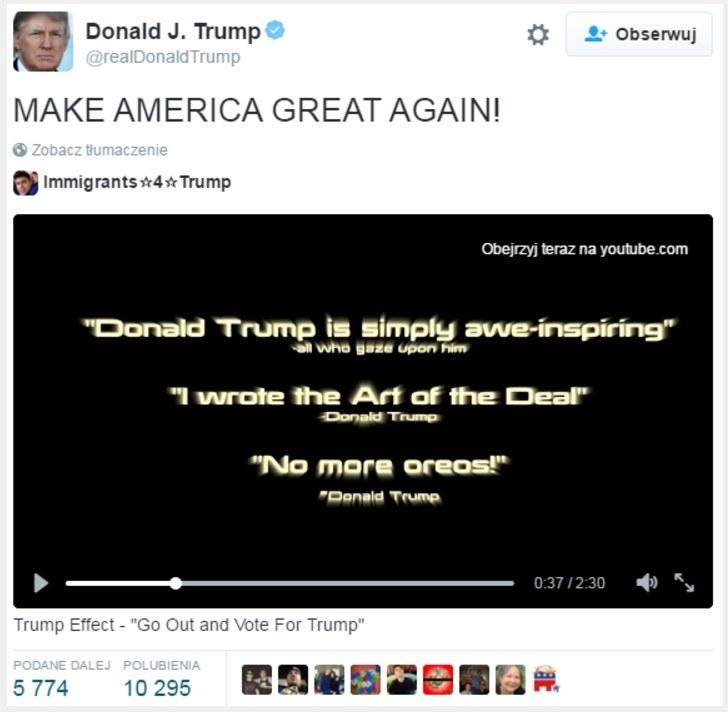 Fragment postu udostępnionego przez Donalda Trumpa w serwisie Twitter /materiały źródłowe