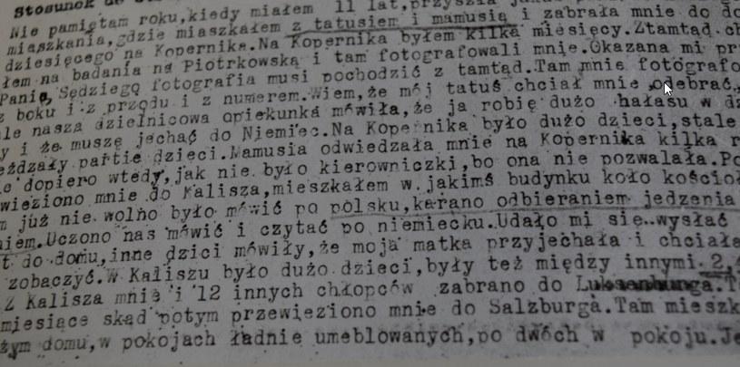 Fragment protokołu przesłuchania świadka - Sławomira Grodomskiego Paczesnego, ur. 1931 r. (maj 1945 r., Sąd Okręgowy w Łodzi). Dokument znajduje się w Archiwum Pańswowym w Kaliszu /Ewelina Karińska-Morek /INTERIA.PL