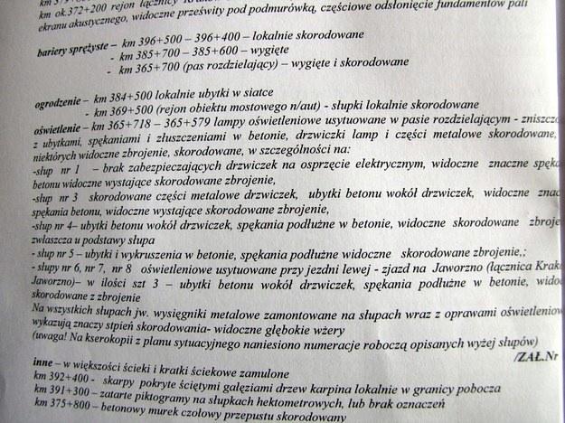 Fragment protokołu z kontroli płatnej A4 Kraków - Katowice /RMF