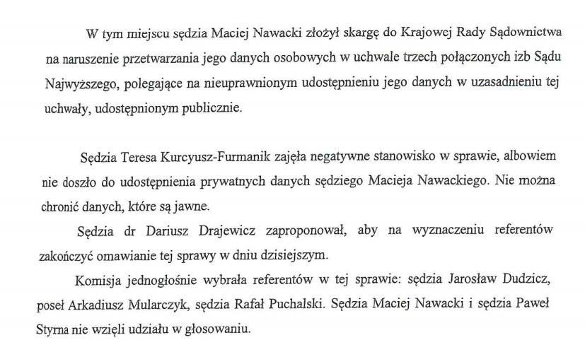 Fragment protokołu z posiedzenia komisji ds. ochrony danych osobowych /RMF FM /