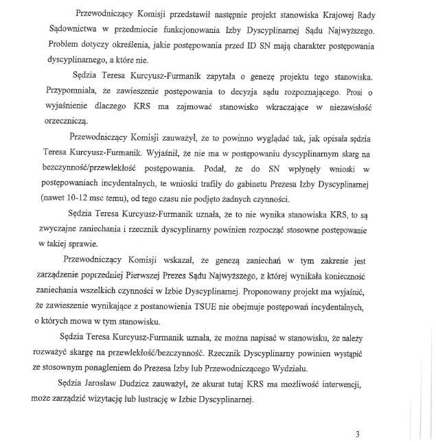 Fragment protokołu z posiedzenia Komisji Krajowej Rady Sądownictwa ds. reformy wymiaru sprawiedliwości z dnia 8 października 2020 roku /RMF FM