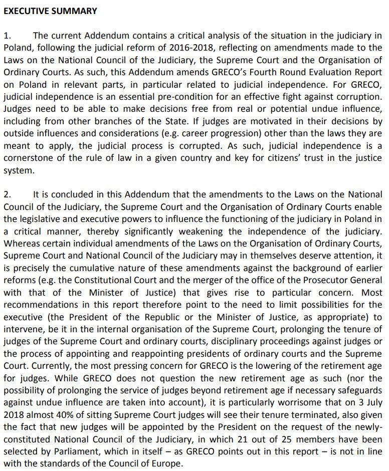 Fragment raportu GRECO /Zrzut ekranu