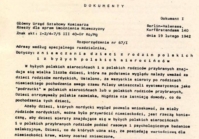 Fragment rozporządzenia 67/I, dotyczącego germanizacji dzieci z polskich rodzin i sierocińców /IPN