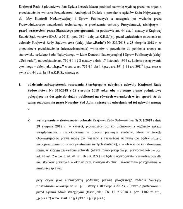 Fragment skargi /Zrzut ekranu