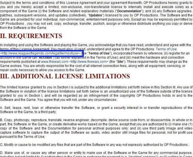 Fragment umowy licencyjnej na korzystanie z gry The War Z /CDA