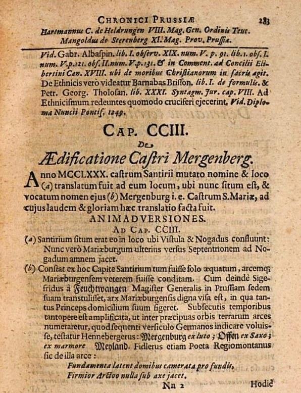 Fragment w języku łacińskim dotyczący przeniesienia zamku Zantyr do Malborka. Kronika Pruska Piotra z Dusburga wydana w 1679 roku. /Odkrywca