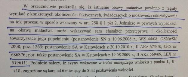 Fragment wniosku prokuratury z zakreślonym fragmentem, przepisanym z komentarza prof. Świeckiego /Tomasz Skory  /RMF FM