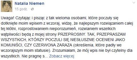Fragment wpisu Natalii Niemen na Facebooku /Facebook /