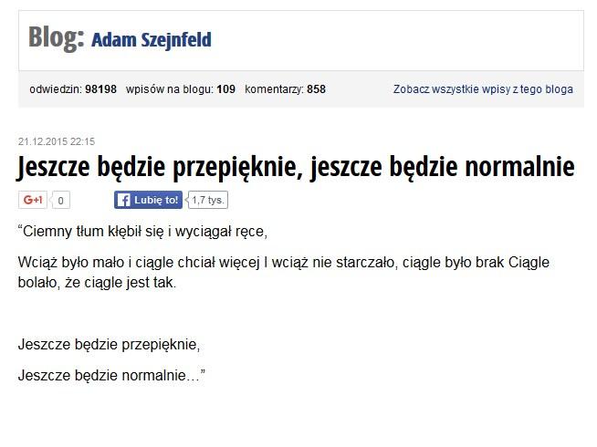 Fragment wpisu posła Adama Szejnfelda na blogu /tokfm.pl/blogi/adam-szejnfeld /