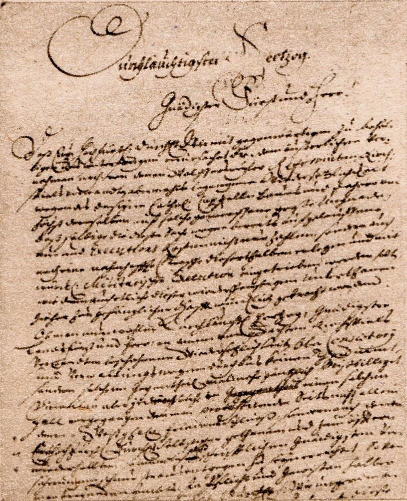 Fragment XVIII wiecznego listu odnalezionego w 1947 r. pod Wałbrzychem /kopia ze zb. Sz. Wrzesińskiego /Odkrywca