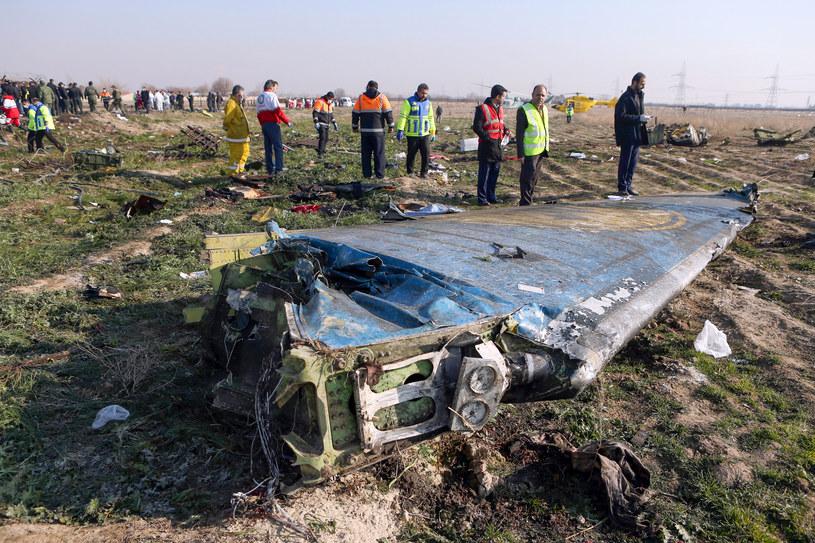 Fragment zestrzelonego ukraińskiego Boeinga. /AKBAR TAVAKOLI / IRNA  /AFP