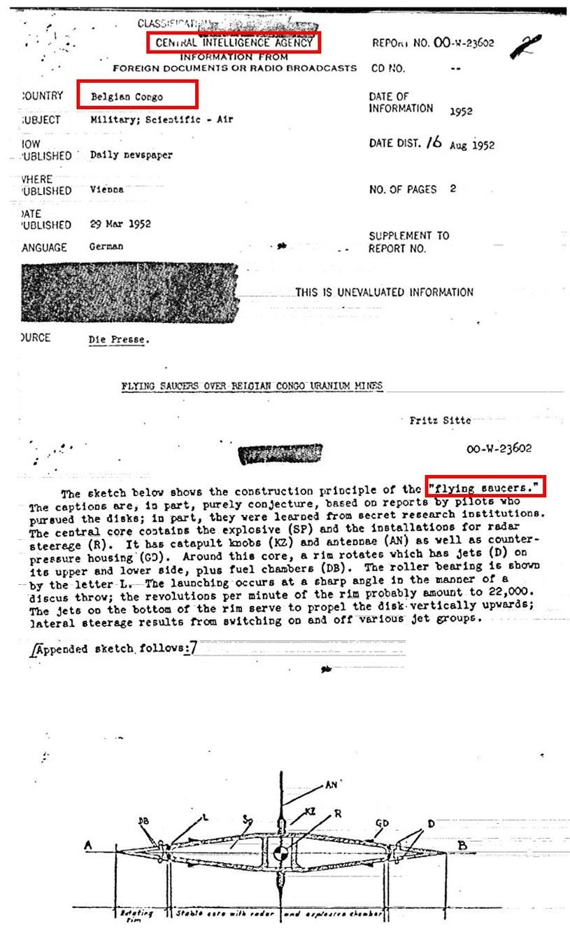 Fragmenty z jednego z raportów CIA dotyczącego rzekomego latającego spodka nad jedną z kopalnii uranu w Kongo Belgijskim /materiały prasowe