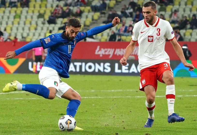 Francesco Caputo oraz Sebastian Walukiewicz podczas październikowego meczu Polska - Włochy /Janek Skarżyński /AFP