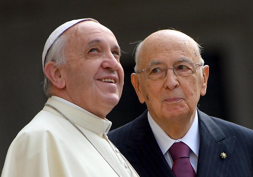 Franciszek i Giorgio Napolitano /AFP