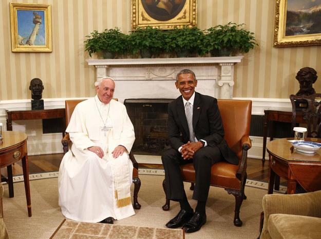 Franciszek podczas wizyty w Białym Domu /AFP