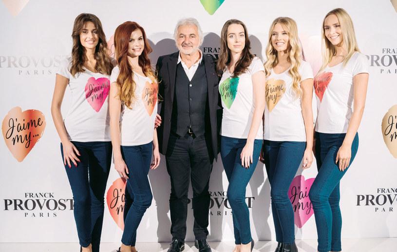 Franck Provost w otoczeniu modelek w czasie polskiej premiery kosmetyków J'aime my... /materiały promocyjne
