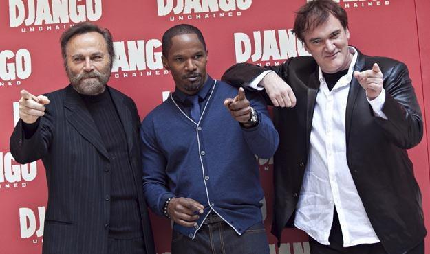 """Franco Nero, Jamie Foxx i Quentin Tarantino na premierze filmu """"Django"""" w Rzymie /materiały dystrybutora"""