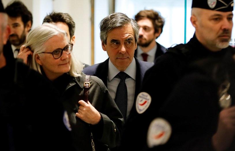 Francois Fillon i jego żona Penelope Fillon /AFP