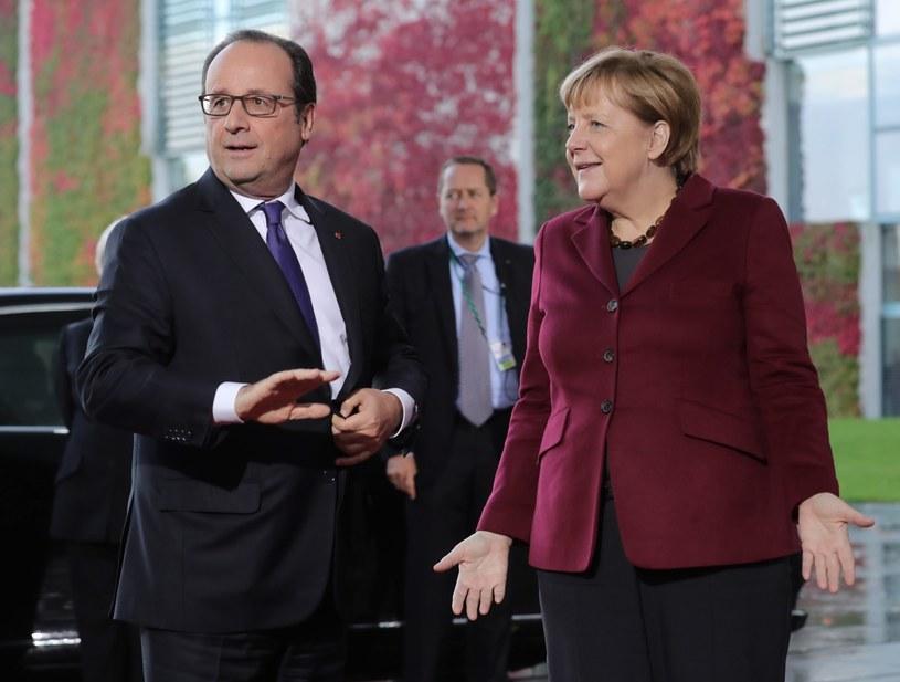 Francois Hollande i Angela Merkel /MICHAEL KAPPELER /PAP/EPA