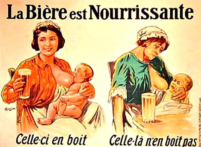 Francuski plakat, na którym możemy zobaczyć jakie są skutki niespożywania piwa przez karmiącą piersią matkę /materiały prasowe