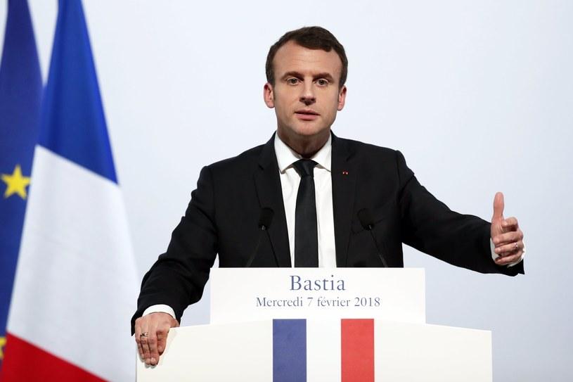 Francuski prezydent Emmanuel Macron na Korsyce /Benoit Tessier /PAP/EPA