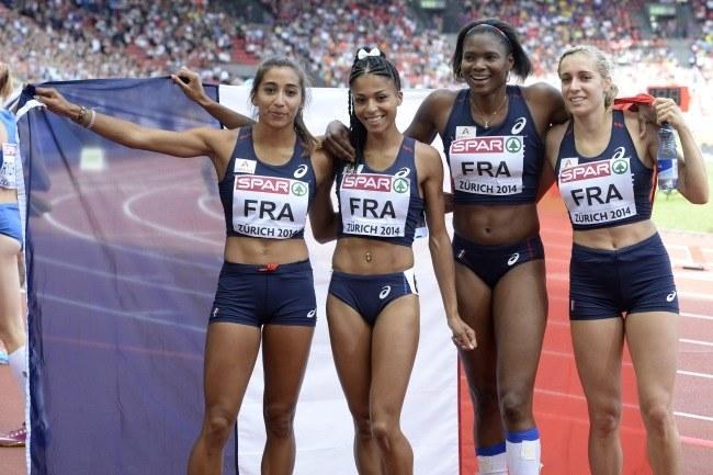 Francuskie mistrzynie Europy w sztafecie 4x400 m /PAP/EPA