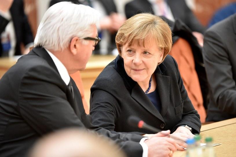 Frank-Walter Steinmeier i Angela Merkel w Mińsku /PAP/EPA