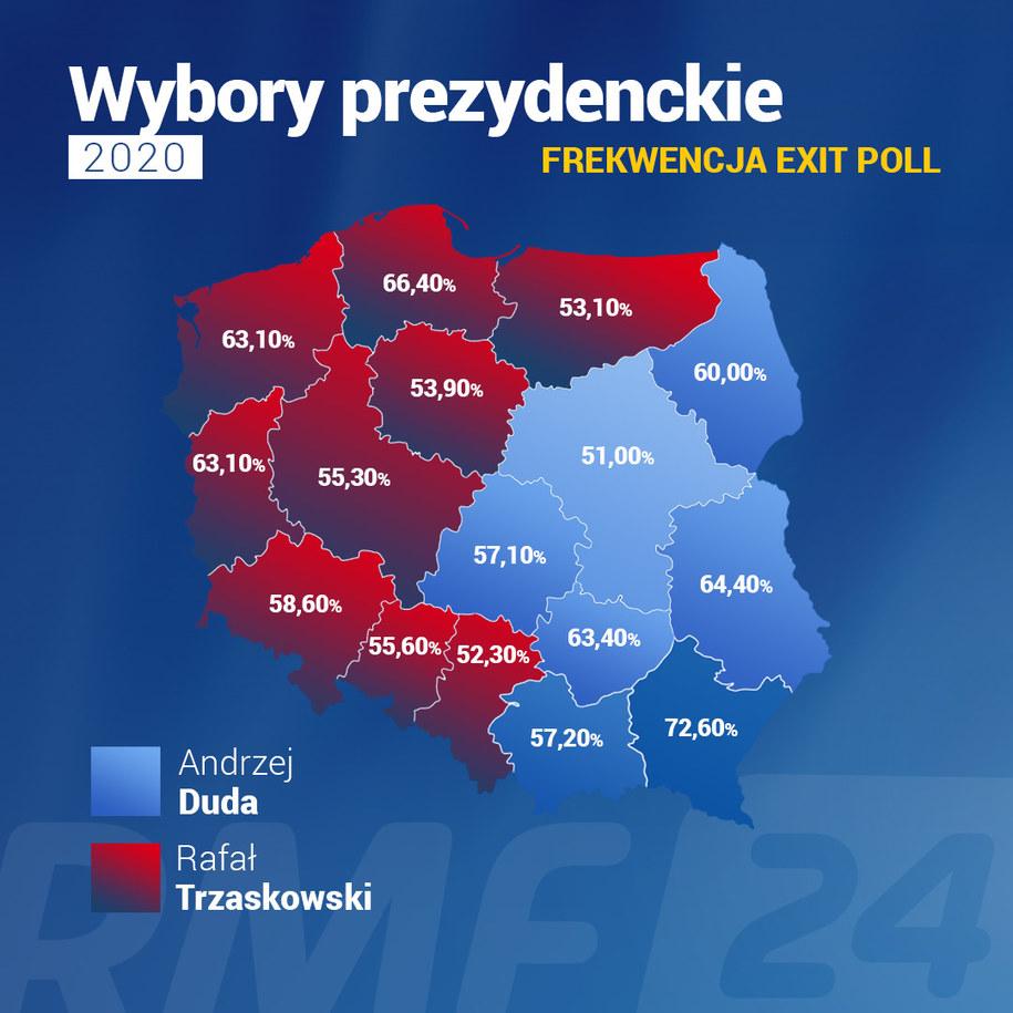 Frekwencja w II turze wyborów prezydenckich z podziałem na województwa /RMF FM /RMF FM