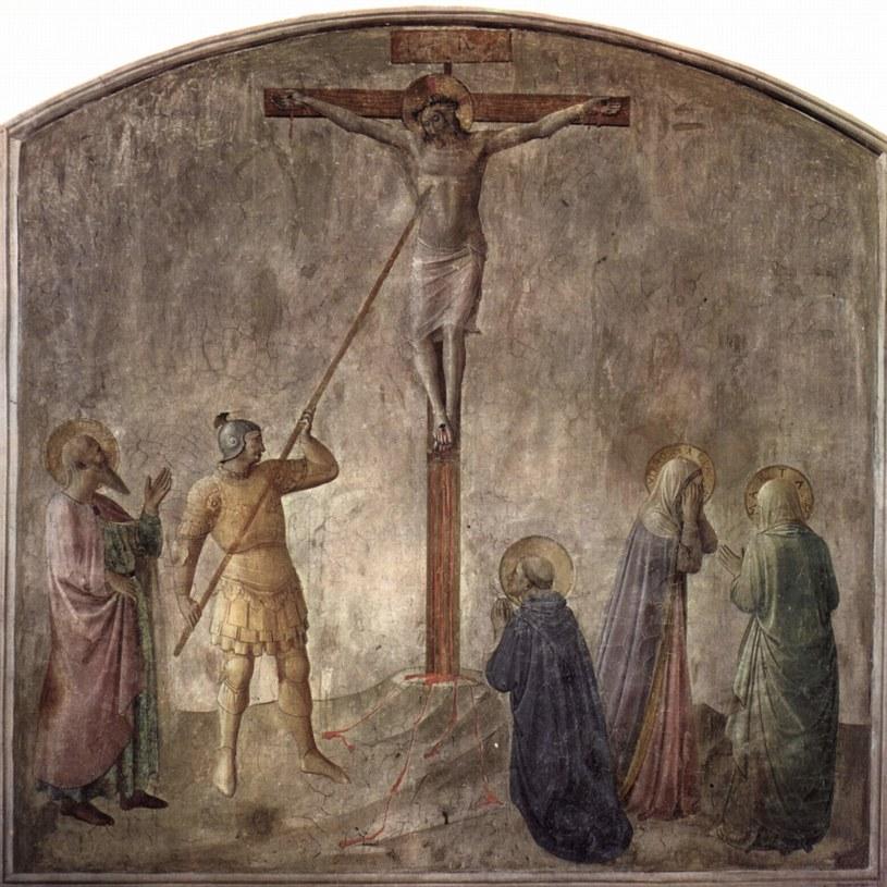 Fresk z roku 1440, na którym żołnierz Longinus przebija na Golgocie bok Jezusa Chrystusa /Wikimedia Commons /domena publiczna