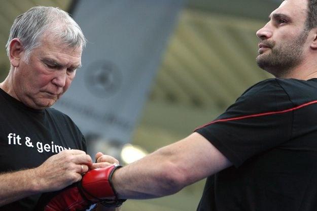 Fritz Sdunek i Witalij Kliczko /AFP