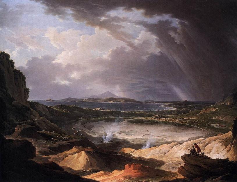 Fumarola (rodzaj ekshalacji wulkanicznych) na Polach Flegrejskich. Obraz z okolic 1780 roku, Michael Wutky /Wikipedia