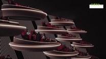 """Futurystyczne kino w Paryżu. Wystrojem przypomina Senat Galaktyczny z """"Gwiezdnych wojen"""""""