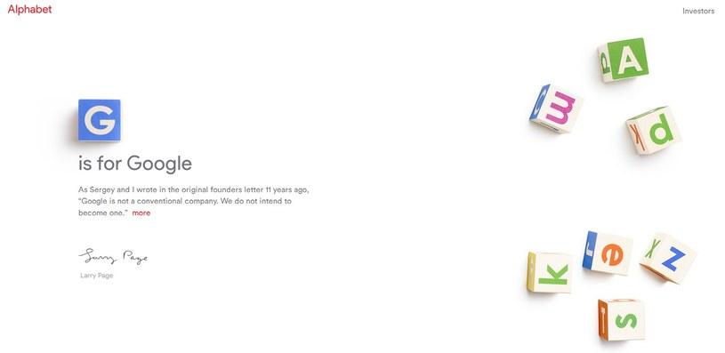 """""""G jak Google"""" - cześć nowego alfabetu firmy. Zdjęcie ze strony: abc.xyz /materiały prasowe"""