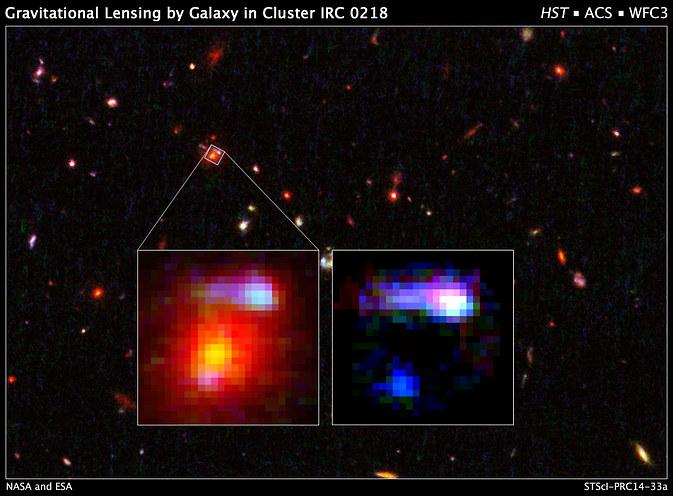Galaktyka w gromadzie IRC 028 to najdalsza znana astronomom soczewka grawitacyjna /NASA