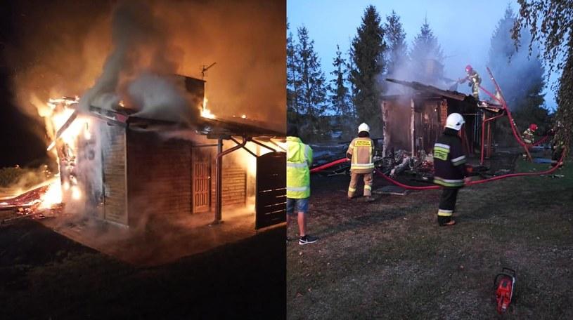 Gaszenie pożaru na fermie strusi trwało ponad 3 godziny /Facebook.com/OSP Liniewo /