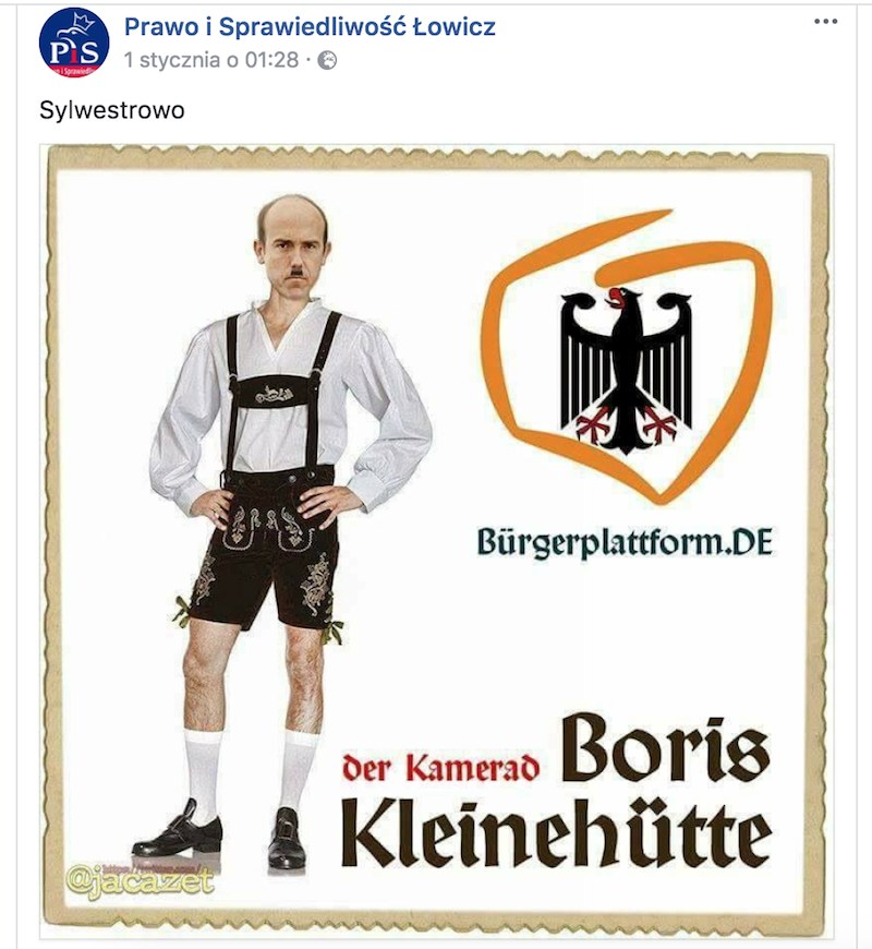 Gdy o wpisie zrobiło się głośno, profil PiS w Łowiczu został skasowany /facebook.com