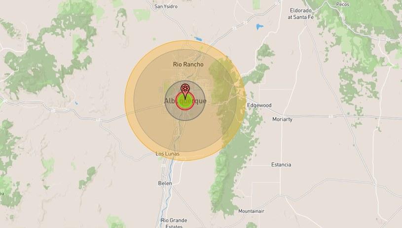 Gdyby bomba eksplodowała, zniszczyłaby całkowicie miasto i okolice /https://nuclearsecrecy.com/nukemap/ /materiał zewnętrzny