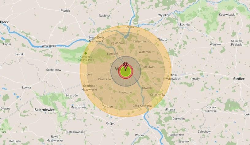 Gdyby bomba Mark 17 wybuchła nad centrum Warszawy, całkowitemu zniszczeniu uległoby ponad 90 km kw. powierzchni miasta /https://nuclearsecrecy.com/nukemap/ /materiał zewnętrzny