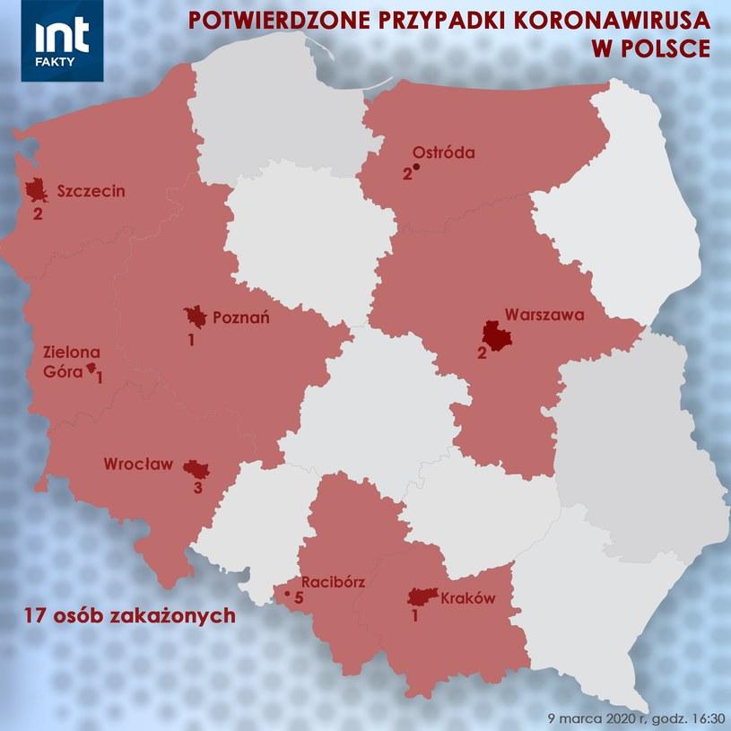 Gdzie w Polsce potwierdzono koronawirusa? /INTERIA.PL