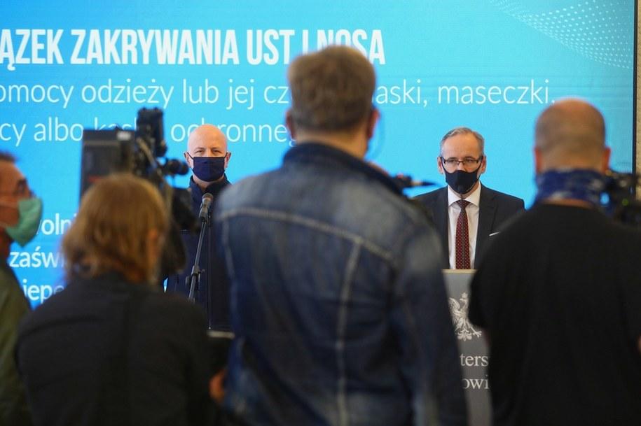Gen. Jarosław Szymczyk i minister zdrowia Adam Niedzielski /Rafał Guz /PAP