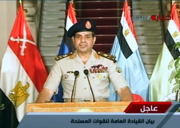 Generał Abd el-Fatah Said es-Sisi w wystąpieniu telewizyjnym /AFP