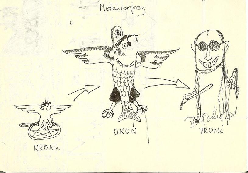 Geneza PRON, karykatura z czasów stanu wojennego, rys. Maciej Miezian /Wikimedia