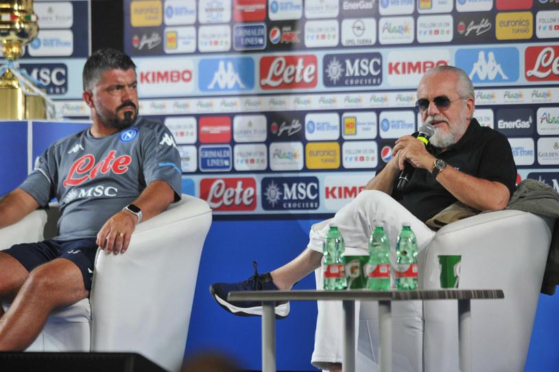 Gennaro Gattuso (z lewej) i Aurelio De Laurentiis /R4924_italyphotopress/IPP/REPORTER/East News /East News