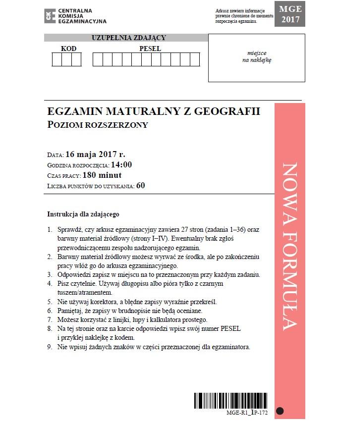 Geografia poziom rozszerzony; matura 2017 /CKE /