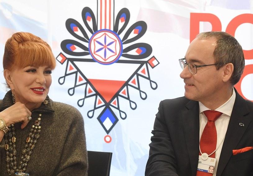 Georgette Mossbacher, ambasador USA w Polsce (L) i Marek Lusztyn, prezes Banku Pekao (P) /