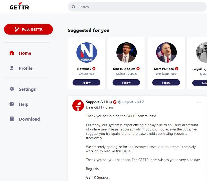 Gettr - zrzut ekranu strony głównej platformy /INTERIA.PL